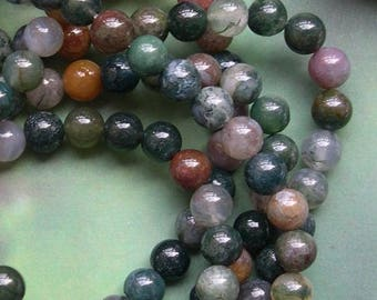 10 round beads 8 mm Indian agate gemstone