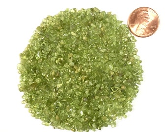 Natural Crushed and Tumbled Peridot, Coarse, 1 Ounce