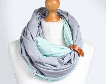 COTTON infinity scarf with leather cuff, infinity scarves, fashion scarf, cotton jersey, ZOJANKA, spring cotton scarf with leather strap