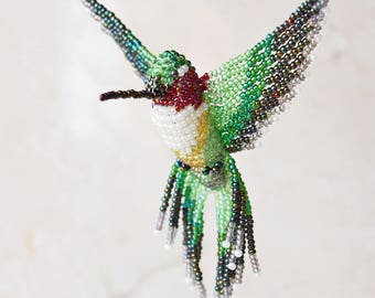 Beaded Bird Ornament, Hummingbird Suncatcher, Window Decor, Bird Necklace, Bird Figurine, Home Decor, Ruby-throated *A (large) Made to Order