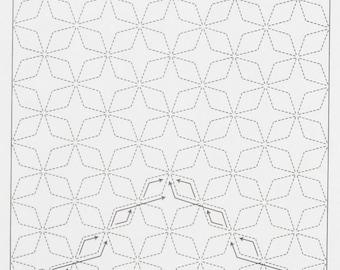 Olympus #2 Japanese sashiko kit Kaku Shippo WHITE cotton