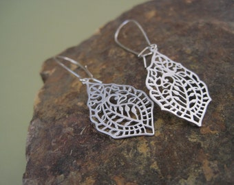 Silver Filagree Earrings - Paisley - Cut Out Design - Ethnic Inspired Jewelry - Matte Silver Everyday - Dangle Earrings