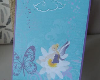Birthday, friendship card, card all occasions, drawing little fairy on flower