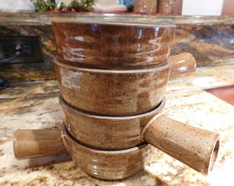 Handmade Pottery Soup Bowls with Handles, Set of 4, Great for Soup, Cereal, Even Ice Cream!