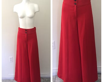 70s Bell Bottoms, Vintage Bell Bottoms, High Rise Pants, High Waisted Trousers, Ultra Wide Leg, Red Pants, Disco, Hippie, BOHO, 29 Waist
