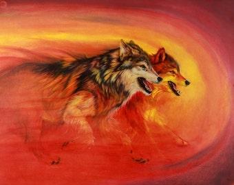 Spirit Wolves: Native American art animals spirit animals totem animals power animals orange red mythical indigenous tradition original art