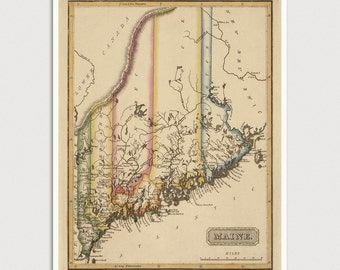 Maine Map, Antique Map Art Print, 1817, Archival Reproduction