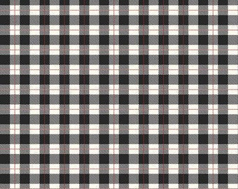 Comfort and Joy Plaid Black - Riley Blake Designs - Christmas Holiday Cream Checkers - Quilting Cotton Fabric - choose your cut