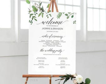 Modern Greenery Wedding Program Sign Template, Wedding Program Poster, Wedding Program Template,Program Printable,Instant Download PDF #E023