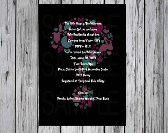 Question Mark Gender Reveal Baby Shower Invitation Black, Pink and Blue