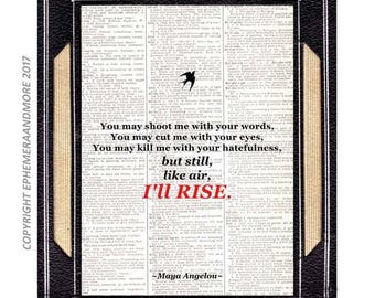 Maya Angelou I'll Rise poster art print wall decor Woman Quote on vintage dictionary book page African American History black red 8x10, 5x7