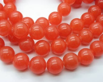 20 transparent Persian red tomato red jade 10 mm beads