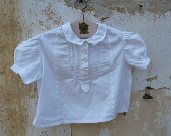 Vintage  1950/50s French white cotton baby blouse short sleeves / size 1 year/18 month