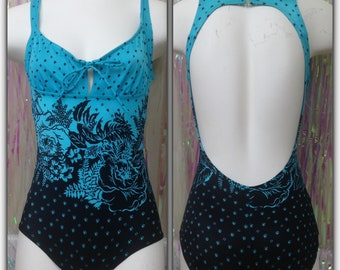 Vintage 70s swimsuit one piece bathing suit SEARS black blue womens