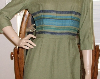 Vintage 60's Mad Men Style Dress.. wool  Very retro and Chic