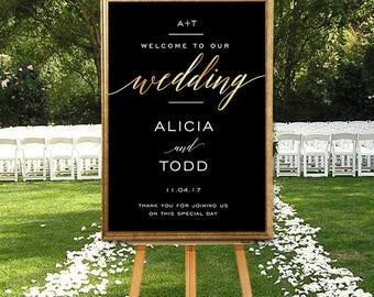 Printable Wedding Welcome Sign, DIGITAL Wedding Sign, Large Wedding Welcome Sign, Modern Wedding Welcome Sign, Gold Wedding Printable