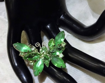 Vintage Green and Frosted Green Rhinestone Butterfly Brooch