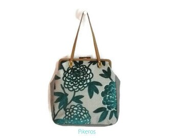 Retro model bag - click bag - clac - turquoise pochette - Beige - valentines gift