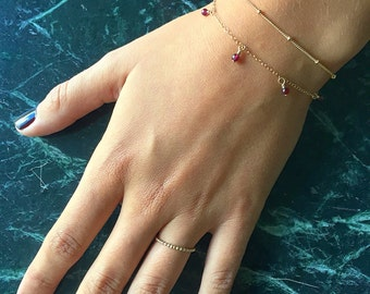 Dangle gemstone bracelet | Natural gemstones | 14k gold filled & sterling silver