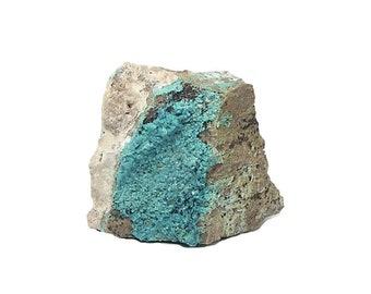 Chrysocolla Blue Gem Silica botryoidal crystalline druzy on rock matrix mined in Nevada, USA stone, geology earth sample