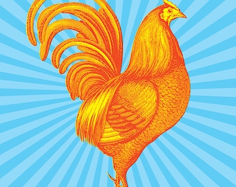 Rooster Art Print, Retro Chicken, Farmhouse Chic, Kitchen Decor, 11x14