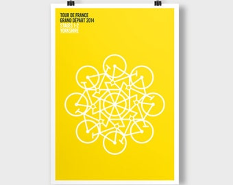 Tour De France, Grand Depart, Stages 1-2 Yorkshire. A2 poster. Theme; Yorkshire Rose.