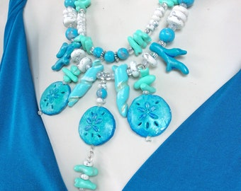Turquoise Coral Beach Jewelry Set / Beachy Blues Statement Necklace and Earrings / Sand Dollar Necklace / Blue and White Summer Jewelry