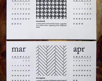 SALE! | Refill Only | 2018 Letterpress Desk Calendar & Postcard Set | Black and White Patterns