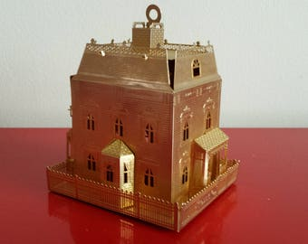Beautiful vintage brass Christmas ornament, miniature picket-fence house