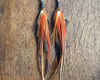 Long Feather Earrings / Earthy Tribal Feather Earrings / Southwest Jewelry / Native American Earrings / Boho Long Earrings/Festival Wear