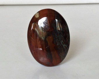 Red Brown and Green Jasper Cabochon. Gemstone cabcohon . Semi-precious Cabochon. Stone Cabochon Large cabochon