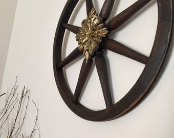 Wooden wagon wheel wall decor, wall hanging, accent decor, brown decor