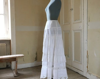 linen and vintage cotton skirt