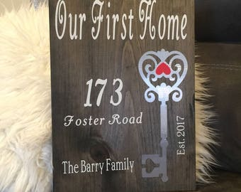 Our First Home - Home Sweet Home - Housewarming gift - Entry Foyer Decor
