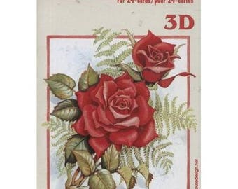 Book sheets of 24 Mini 3D collage, decoupage LES ROSES patterns