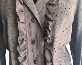 70s Custom Made Ruffled and Dotted Shirt