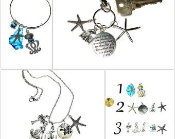 Custom SILVER BEACH LOVER Friendship Charms Coastal Keychain Bracelet Necklace Octopus Starfish Jewelry Car Mirror Hanging Charm Key Ring