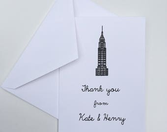 NYC Thank You Notes -- Empire State Building -- Wedding Thank You Notes -- Personalized -- Pick your Quantity