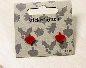 Red Bauble Christmas Earrings - cute festive xmas earrings, stud earrings, holiday jewellery, cute laser cut earrings,
