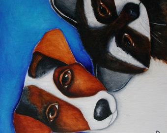 "Dog Raccoon Jack Russell Terrier JRT Print on wood, gift, wall art, small art, 3.5"" x3.5"", deb harvey, forest creature, mini, friends"