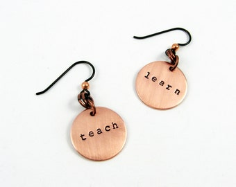 Teacher Earrings in Sterling Silver - Learn and Teach - Education Jewelry for Teacher Appreciation or Retirement, Graduation Gift