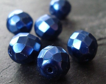 Czech Glass Beads 10mm Metallic Royal Blue Faceted Rounds - 8 Pieces