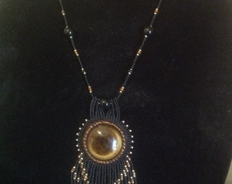 Beaded Embroidered Tigers Eye Pendandant Necklace