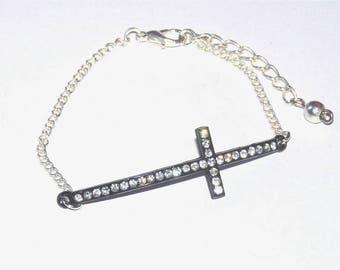 Dainty thin bracelet with black rhinestone cross