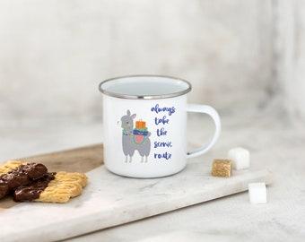 Wanderlust Mug - Adventure Mug - Stainless Steel Camp Mug - Llama Mug - Gift for Friend