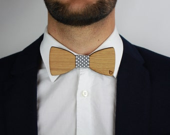 Wooden bow tie with W & B Fabric