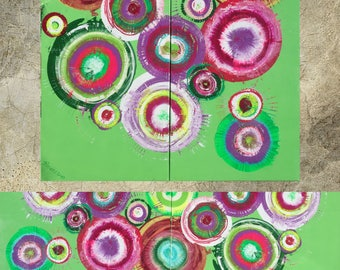 Green Abstract Painting vertical textured wall art A104 Acrylic Original Contemporary Art KSAVERA canvas mid century modern art