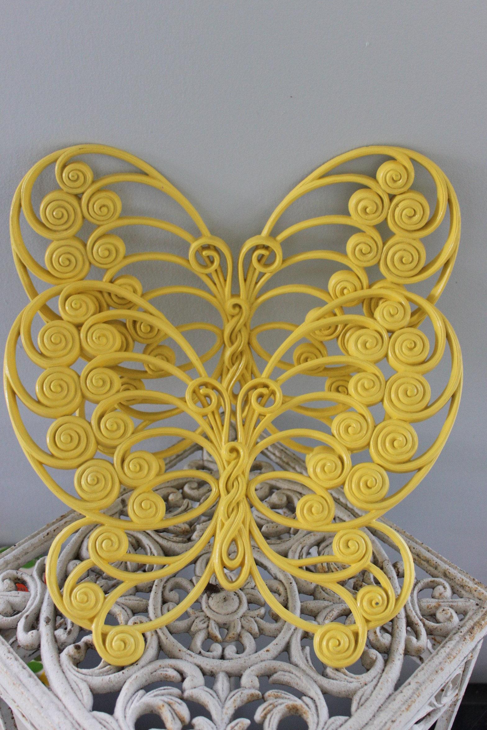 LOT of 2 LARGE Vintage 12.75 plastic butterflies