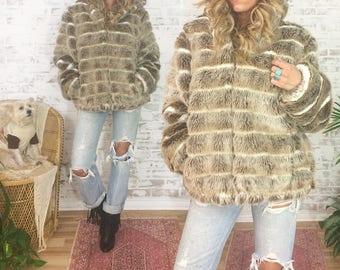 Vintage 1980's GLAM Chubby Faux Fur Hooded Vegan Bomber Coat || Cafe Latte Mocha Brown || Animal Friendly || Size Medium Large