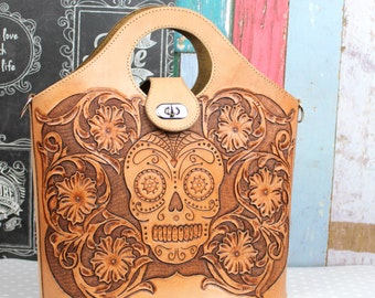 Leather Bag, Handmade Leather Purse, Cross body bag, Day of the Dead bag, Sugar Skull, Rockabilly bag made by Claudio Nosari